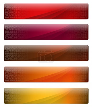 Illustration for Five, gelly and glossy banners with warm colours for your website, vector. - Royalty Free Image