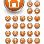 Set of 32 shiny, orange glass web buttons, icons....