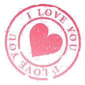 I love you stamp illustration