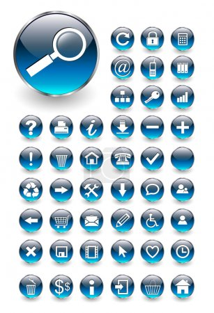 Illustration for Web icons for business and office blue aqua, vector - Royalty Free Image