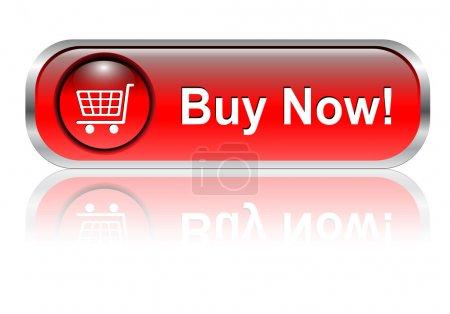 Illustration pour Panier d'achats, bouton acheter icône, rouge brillant avec ombre, vecteur - image libre de droit