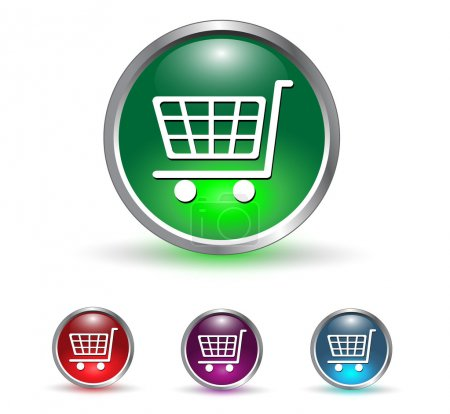 Illustration pour Panier d'achats, bouton d'icône acheter, ensemble multicolore . - image libre de droit