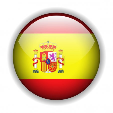 Illustration for Flag of Spain, Spanish flag, glossy button, vector - Royalty Free Image