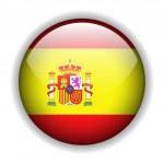 Flag of Spain, Spanish flag, glossy button, vector...