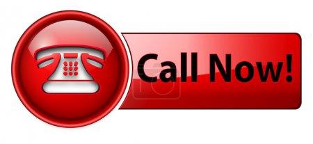 Illustration pour Téléphone, appel maintenant icône, bouton, rouge brillant . - image libre de droit