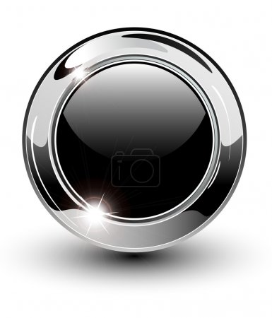 Illustration for High glossy, beautiful blank web button with metallic chrome elements. - Royalty Free Image