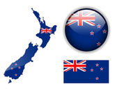 New Zealand flag map and glossy button vector illustration set