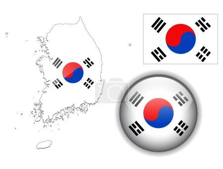 South Korea flag, map and glossy