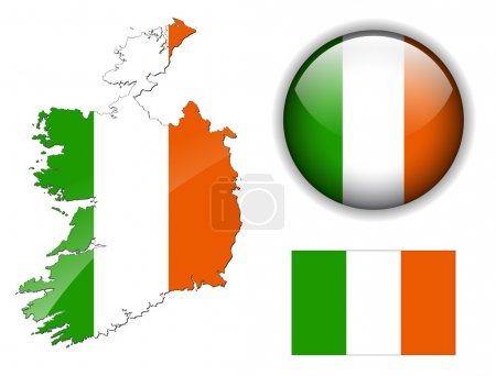 Ireland flag, map and glossy button.