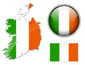 Ireland flag map and glossy button vector illustration set
