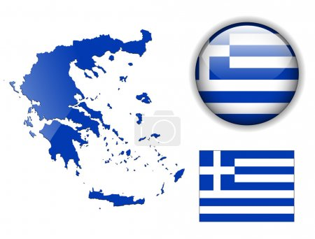 Greece flag, map and glossy button.