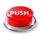 Push button, 3d red vector.