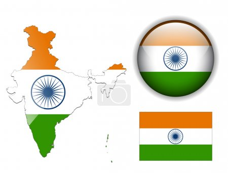India flag, map and glossy button.