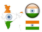 India Indian flag map and glossy button vector illustration set