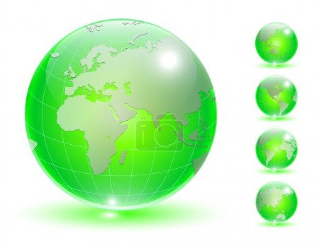 Illustration for Earth globe, transparent crystal different views vector. - Royalty Free Image