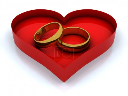 Heart box and golden rings