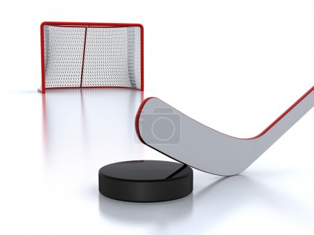 Hockey stick,puck and goal