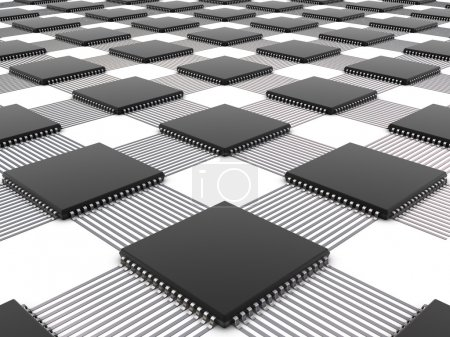 Photo for Chips in array with paths on white background - Royalty Free Image