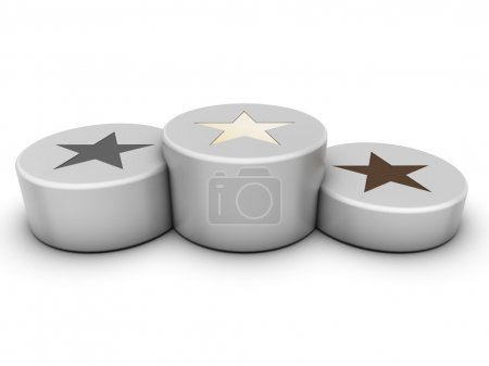 Photo for White round podium with stars - Royalty Free Image