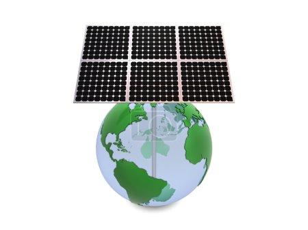 Foto de Tierra y paneles solares aislados sobre fondo blanco - Imagen libre de derechos