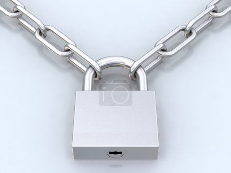 Chains and closed padlock
