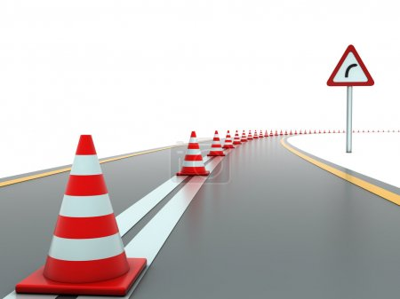 Road with traffic cones and sign right