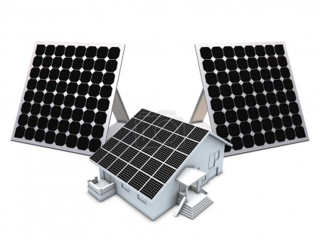 Solar panels and house model