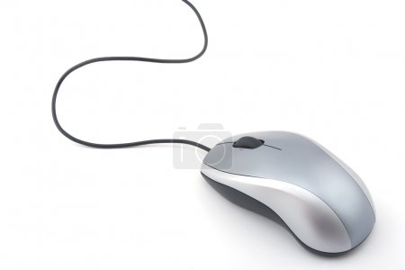 Photo for Gray computer mouse with cable on white background - Royalty Free Image