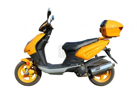 Photo for Yellow scooter isolated on white background witn clipping path - Royalty Free Image
