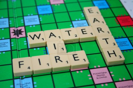 Photo for Four elements inscription made of scrabble tiles - Royalty Free Image