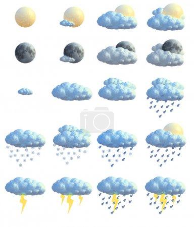 Foto de 3D iconos meteorológicos. gran tamaño. - Imagen libre de derechos
