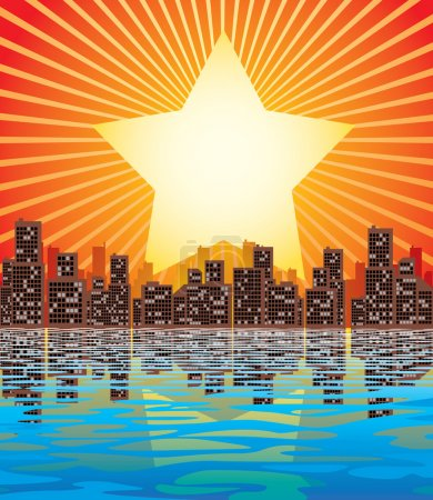 Illustration for Vector image of abstract city and rising sun - Royalty Free Image