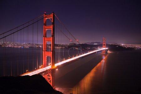 Photo for Golden Gate bridge at night seen from Marina Headlands, San Francisco, California. - Royalty Free Image