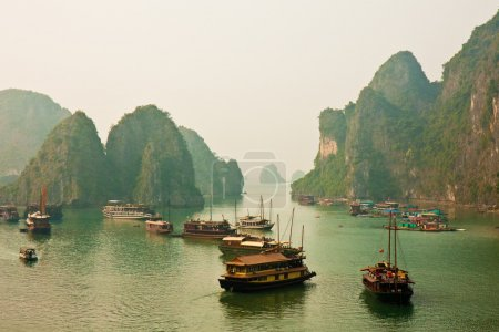 Photo for Boats anchored in Halong Bay, Vietnam. - Royalty Free Image