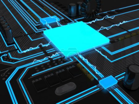 Photo for A powerful cpu concept glowing blue inside a circuit - Royalty Free Image