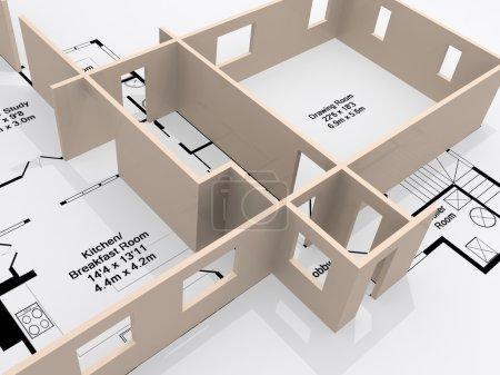 Photo pour Plans d'une maison avec un passant de modèle 3d de la page - image libre de droit
