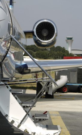 Business jet at an airport...