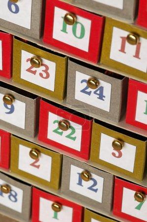 Random numbers on small cardboard file draws...