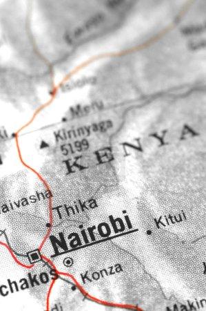 Photo pour Détail de la carte du Kenya en mettant l'accent sur nairobi - image libre de droit