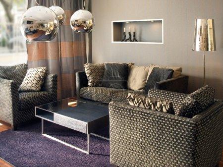 Photo pour Salon moderne et design d'intérieur. s'il vous plaît soyez les bienvenus à consulter mon immense bibliothèque supérieure de design d'intérieur photos. - image libre de droit
