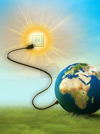 Foto de La energía de nuestro planeta proviene del sol. La ilustración digital . - Imagen libre de derechos