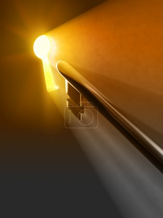 Photo for Warm light passing through a keyhole. Digital illustration. - Royalty Free Image