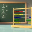 Abacus in front of a chalkboard, used to solve sim...