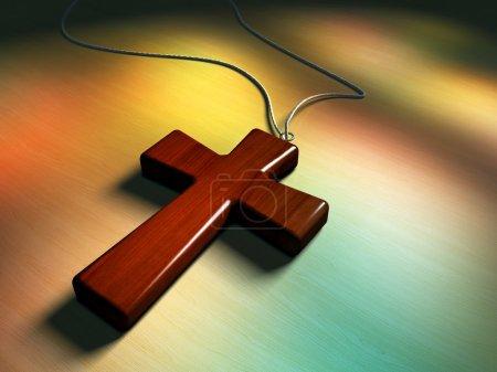 Photo pour Croix en bois, lumière traversant des vitraux. Illustration numérique . - image libre de droit