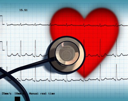 Photo for Stethoscope and ECG over a stylized hearth. Digital illustration - Royalty Free Image