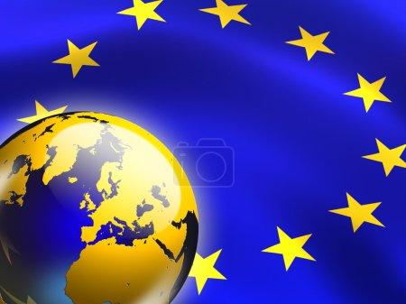 Photo pour Drapeau de l'union européenne et du globe. illustration numérique. - image libre de droit