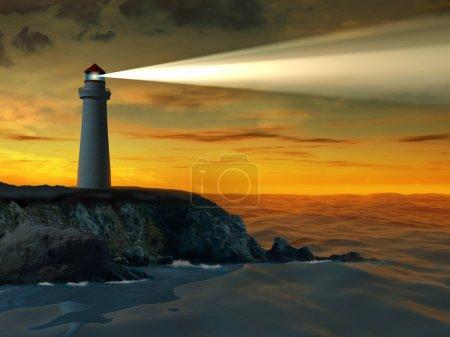 Photo pour Le guide vient d'un phare. Illustration numérique . - image libre de droit