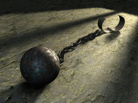 Photo for Steel ball and chain in a prison cell. Digital illustration. - Royalty Free Image