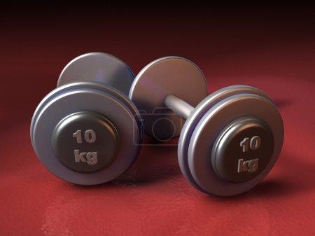 Photo pour Deux poids de 10 kg sur fond rouge. Illustration CG . - image libre de droit
