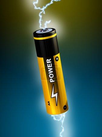 Photo pour L'électricité étincelle en passant par une pile AA. Illustration numérique - image libre de droit
